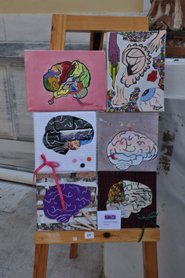 Student paintings for Brain Awareness Week at the 4th Public Junior High School of Pyrgos Ilias Greece
