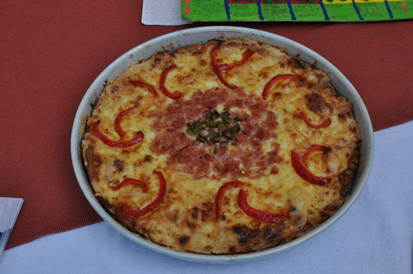 Eye made of Pizza at the 4th Public Junior High School of Pyrgos Ilias Greece