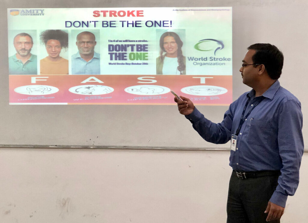 Awareness session on STROKE at Amity Institute of Neuropsychology and Neurosciences, Amity University UP, India.