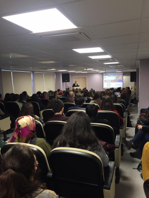 A lecture on the first day of BAW organized by Anadolu University Faculty of Health Sciences in Turkey