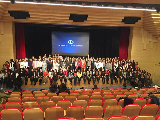 Participants during a symposium organized by Anadolu University Faculty of Health Sciences in Turkey