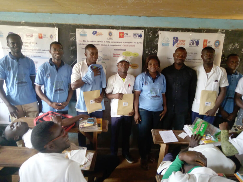 Secondary school students receive awards as part of an activity organized by the Cameroon Association for Neuroscience (CAMANE) in Cameroon.