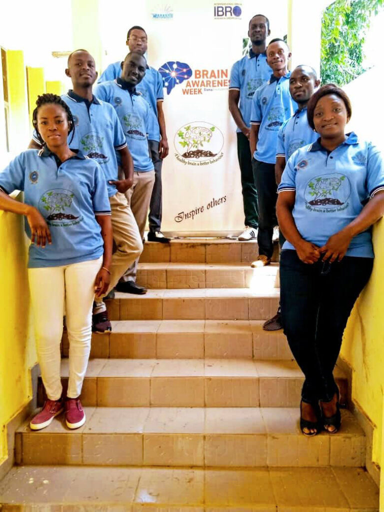 A team of volunteers/participants at a BAW event organized by the Cameroon Association for Neuroscience (CAMANE) in Cameroon.