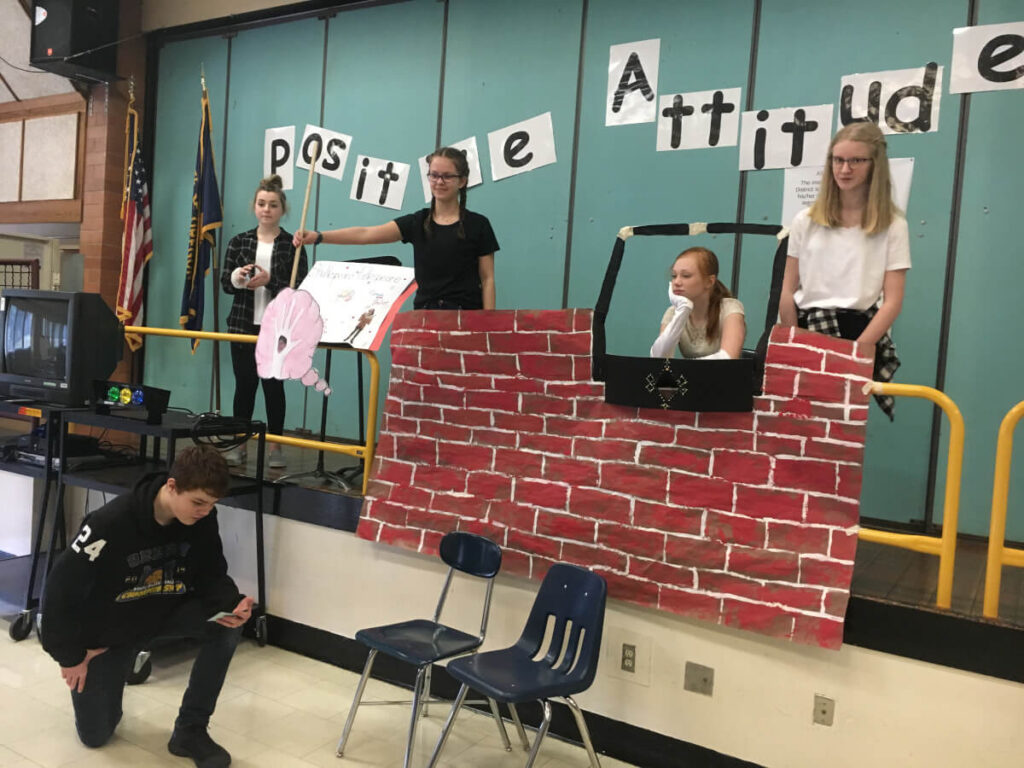 Middle school students perform The Bard on The Brain, organized by Astoria Middle School in Oregon.