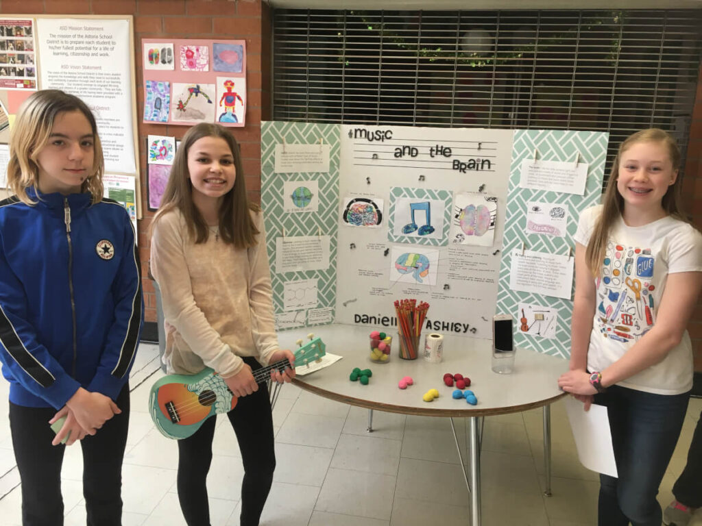 Students with their presentation at an event organized by Astoria Middle School in Oregon.