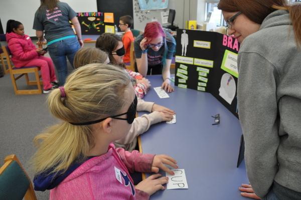 Children participate in a brain fair organized by Bloomsburg University of Pennsylvania