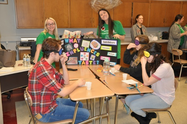 High school students learn about taste and smell during a school visit organized by Bloomsburg University of Pennsylvania