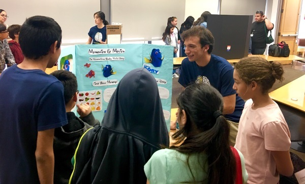 Students learn about memories and movies during an event organized by Brain Research Institute (BRI), UCLA in California