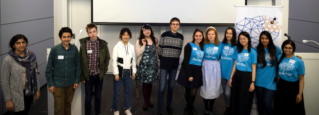 Participants and volunteers at the British Brain Bee organized by the organization of the same name in Cambridge, UK.