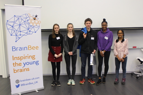 Participants in the London Brain Bee championship organized by the British Brain Bee