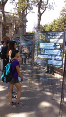 Participants look at posters at an event organized by Centro Universitario de Ciencias Biológicas y Agropecuarias (CUCBA), Universidad de Guadalajara (U. de G.), Mexico