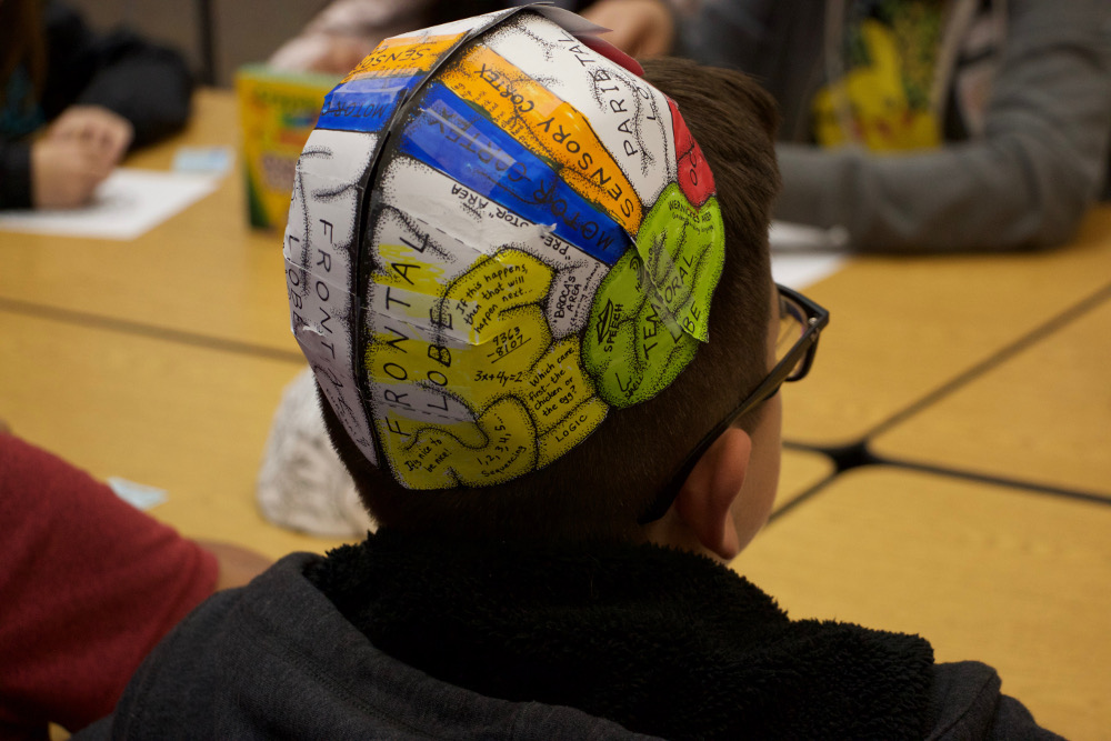 Colored brain hats at an event organized by California State Polytechnic University in Pomona, California.