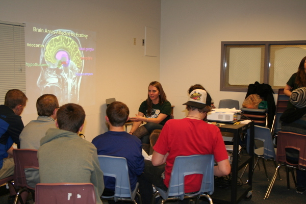 Students learn about ecstasy and the brain at a presentation organized by Colorado State University