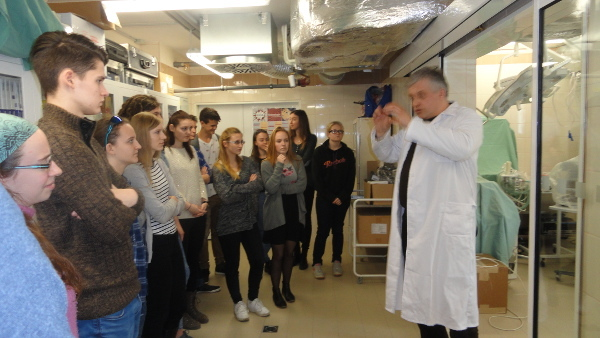 Students visit a medical facility as part of BAW organized by the Czech Huntington Association in Czech Republic