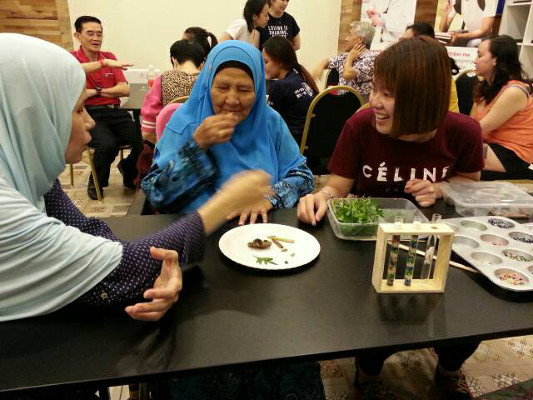 A healthy eating game during a youth engagement program to reach older adults with dementia organized by the Department of Biomedical Science, Faculty of Medicine, University of Malaya in Malaysia