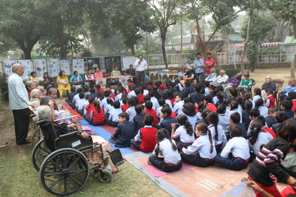 Children and the elderly learn about dementia together during an event organized by the Dementia Care Home, Faridabad in India