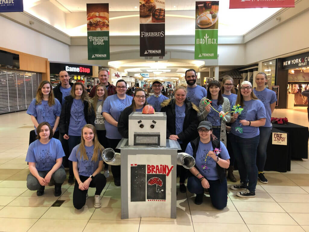Brainy the Robot makes his annual appearance at the local mall, organized by Edinboro University of Pennsylvania.
