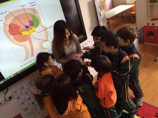 Children touch a brain during BAW organized by Eskisehir Osmangazi University in Turkey