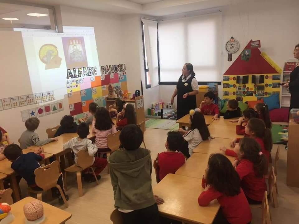 Prof. Dr. Ferhan Esen explaining the brain and its functions to the Kindergarten children during BAW 2020 activities in Private Şehir College, organized by Eskisehir Osmangazi University (ESOGU) in Turkey.