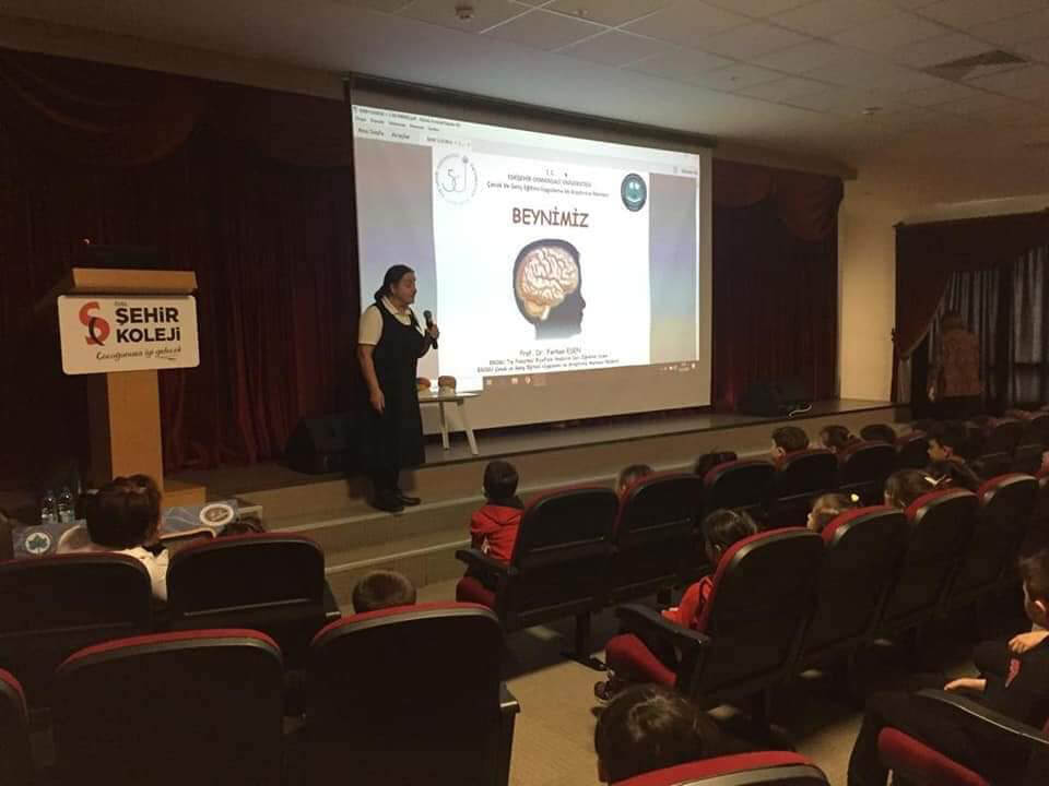 "Prof. Dr. Ferhan Esen giving the lecture ""Neuroscience for Kids: OUR BRAIN - 1"" to primary school children during BAW 2020 activities in Private Şehir College,  organized by Eskisehir Osmangazi University (ESOGU) in Turkey."