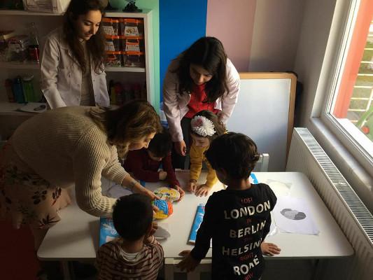 Preschool children learn about the brain during an event organized by Eskisehir Osmangazi University in Turkey