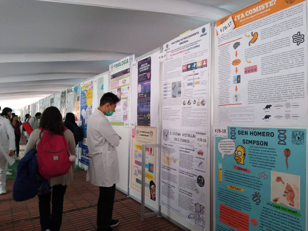 Poster session organized by Facultad de Medicina UNAM in Mexico City.