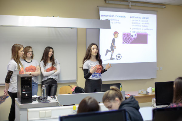 Presenters talk about soccer and the brain during an event organized by the Faculty of Medicine Osijek in Croatia