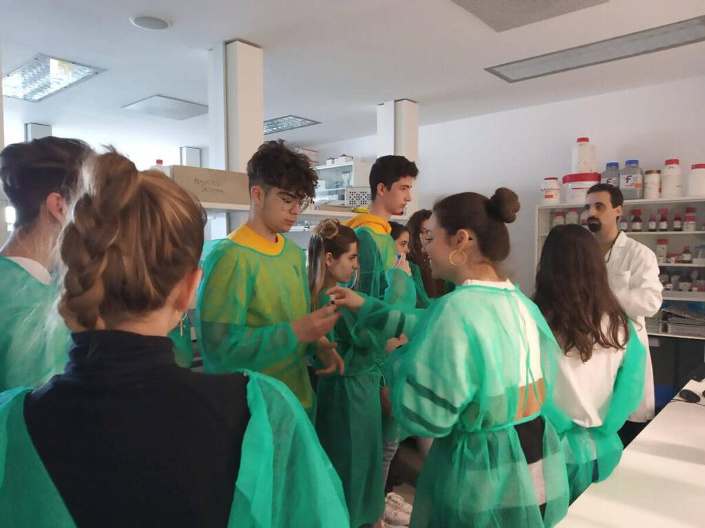 Students participate in experiments organized by Fundación Hospital Nacional de Parapléjicos in Toledo, Spain.