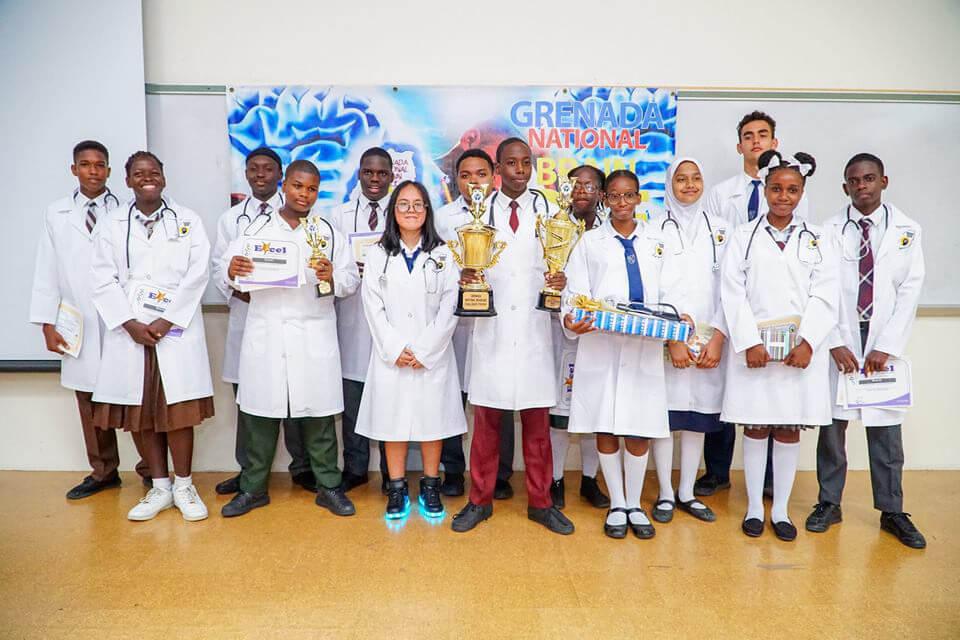 The fifteen finalists of the Grenada Brain Bee Challenge in Grenada.