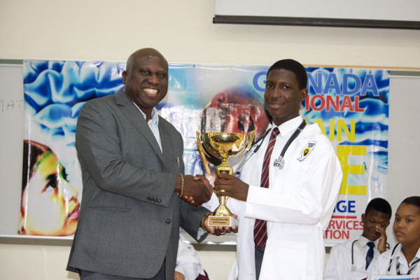 The winner of The Christian Services Grenada National Brain Bee Challenge organized by the Grenada Brain Bee Challenge in St. George's, Grenada