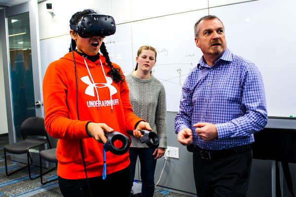 Virtual reality goggles during an event organized by Health and Technology District in Surrey, Canada