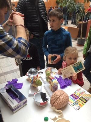 Children learn about the brain at the Brain Day Open House organized by Hope College in Michigan