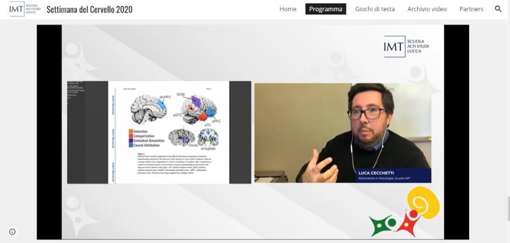 "Discussing  ""The emotional brain: what neuroscience teaches us about empathy and emotions"" during an online event organized by IMT School for Advanced Studies Lucca, Italy."