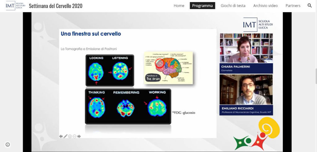 "Discussing ""Neuroscience, health and wellness"" during an online event organized by IMT School for Advanced Studies Lucca, Italy."