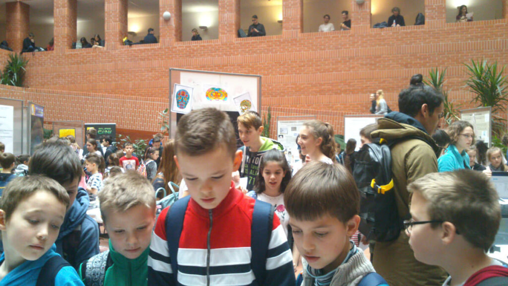 Children at an event organized by the Institute of Experimental Medicine of the Hungarian Academy Science in Budapest, Hungary.