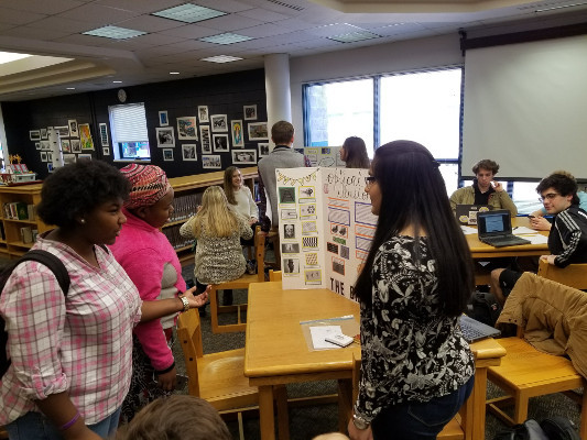 Students learn about the brain during Lunch in the Library organized by James River High School in Virginia