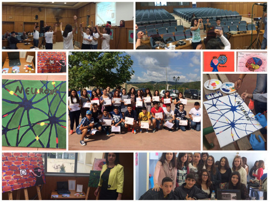 A collage of various moments during BAW at Karatoula Junior High School in Greece