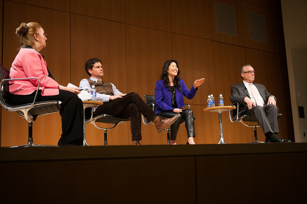 The panel of speakers at Up With Aging, an event organized by the Manhattan Borough President's (Gale Brewer's) Office
