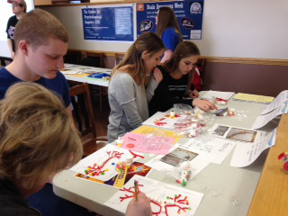 Students create neurons at an event organized by Miami University Hamilton Campus