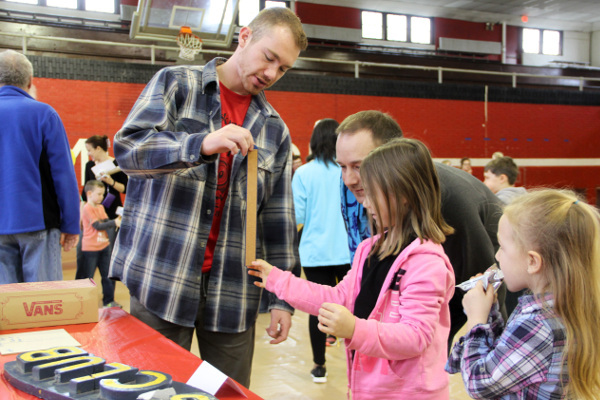 Measuring reaction time at the Investigation Fair organized by Muskingum University in New Concord, Ohio