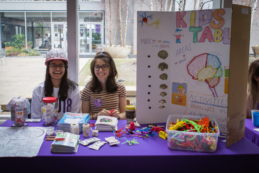 The kids table at the NYU Brain Fair organized by NYU School of Medicine in New York