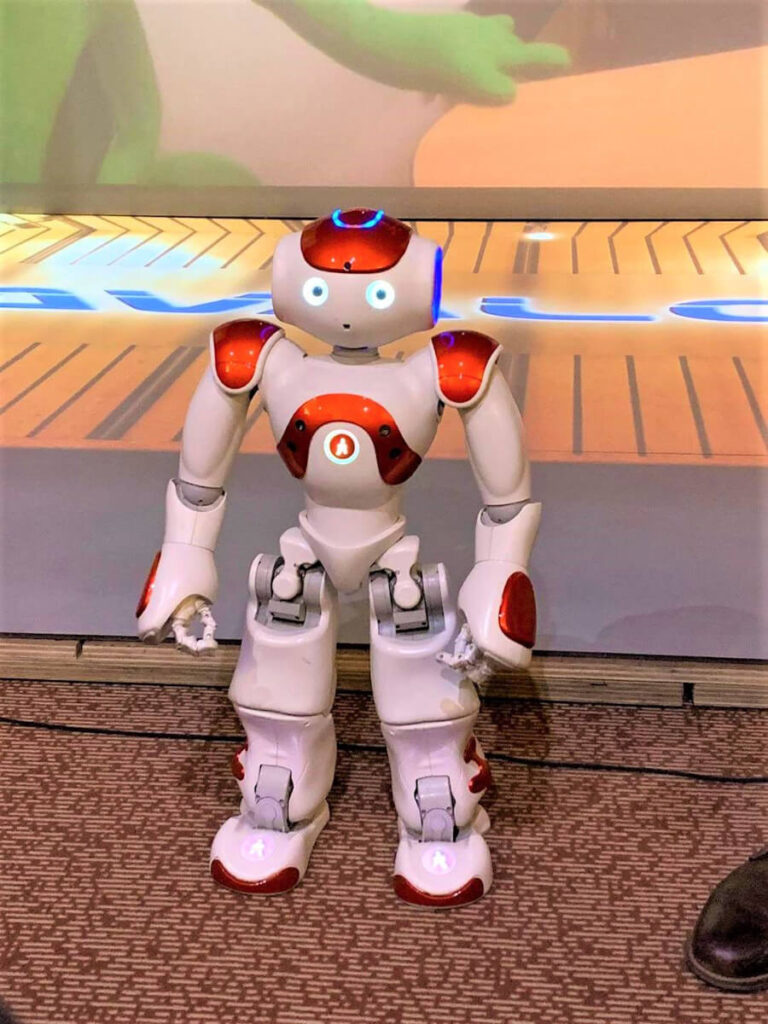 "A little robot on PsyTech-Matrix Platform 4. High school students learned how high-tech platforms can be utilized in psychological research and therapeutic interventions through various didactic activities organized by The National College ""George Baritiu"", Cluj-Napoca in Romania."