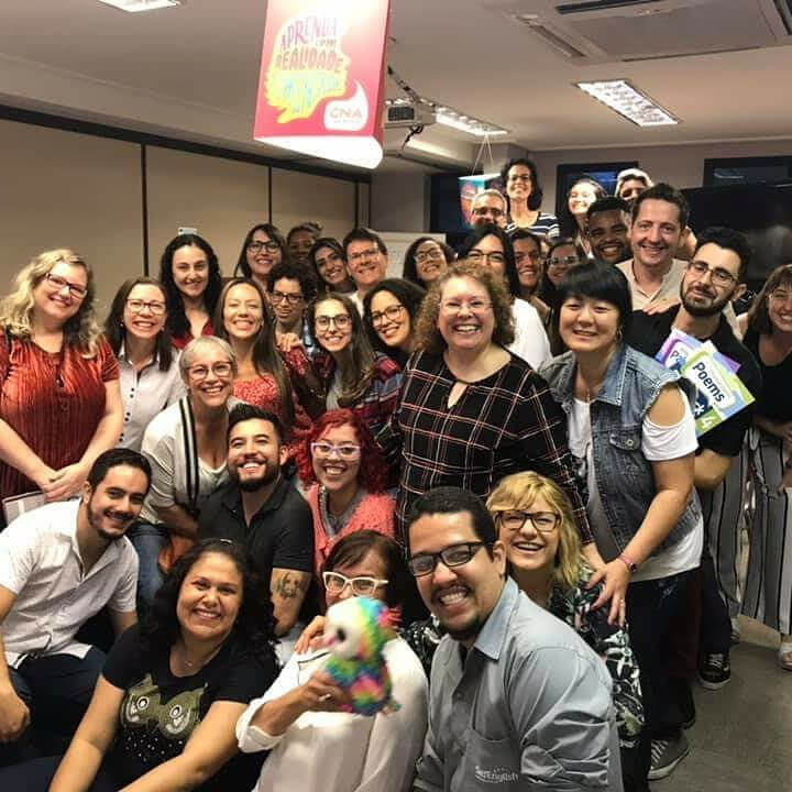 Participants are all smiles at an event organized by Neuroeducamente Group in Sao Paulo, Brazil.