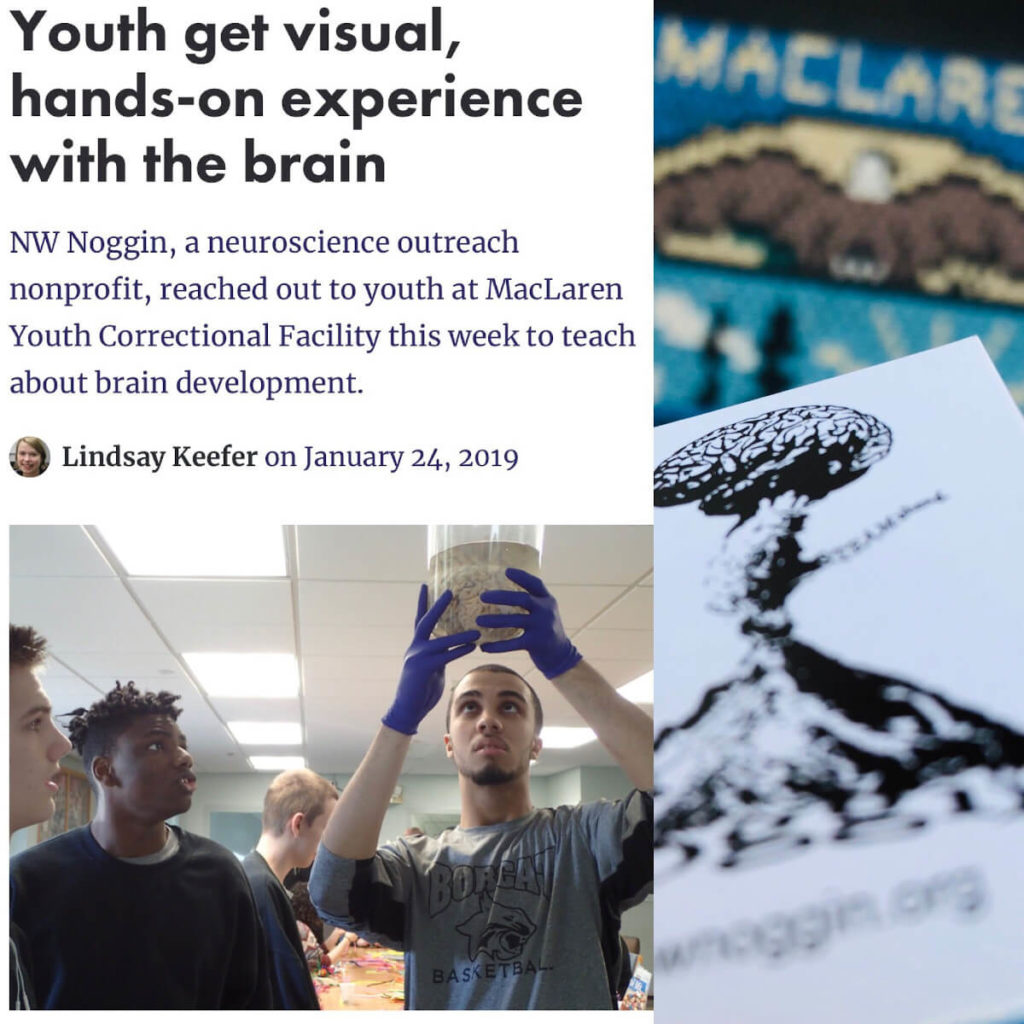 An event at At the MacLaren Youth Correctional Facility with brains and art organized by Northwest Noggin (nwnoggin.org) in Portland, Oregon.
