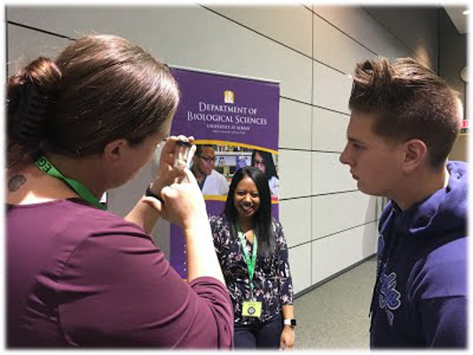 Visitors learn about the brain during an event organized by SUNY Albany in New York