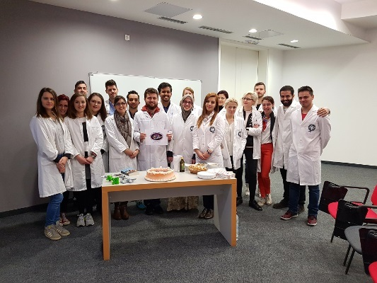 Medical students pose during a BAW event organized by Sarajevo School of Science and Technology in Bosnia and Herzegovina