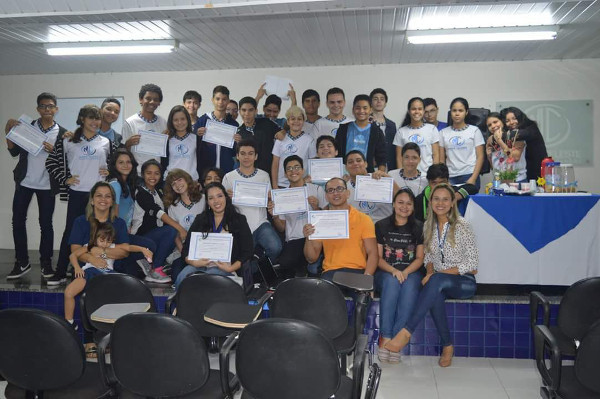 Participants in a lecture organized by the Sociedade Civil Integrada Madre Celeste in Belem, Brazil