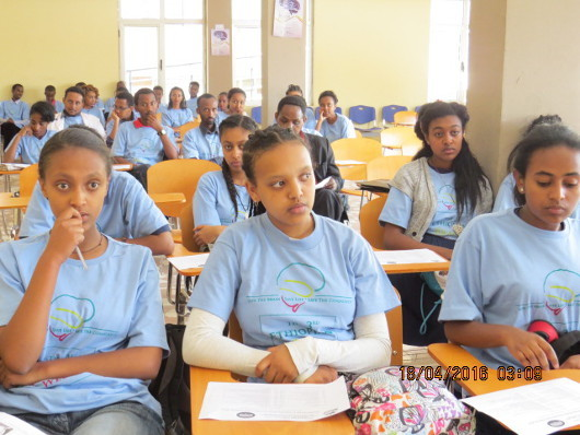 Students attend a presentation organized by St. Paul's Hospital Millennium Medical College, Ethiopia