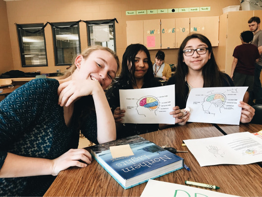 Students at Northfield Middle School learn about the five senses during an event organized by St. Olaf College in Minnesota