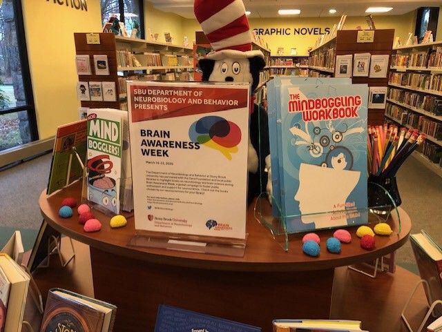 Book display at Comsewogue Library organized by Stony Brook University Department of Neurobiology & Behavior in New York.